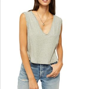 FREE PEOPLE heather grey. Tank top. V-neck top.